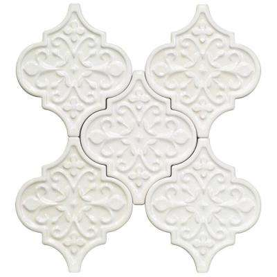 Vintage Florid Lantern White Ceramic Mosaic Wall Tile - 0.31 in. x 0.31 in. Tile Sample