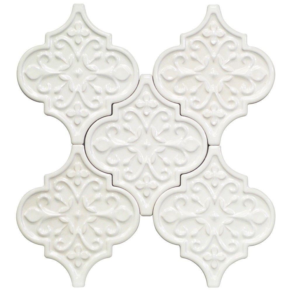 Splashback Tile Vintage Florid Lantern White Ceramic Mosaic Wall ...