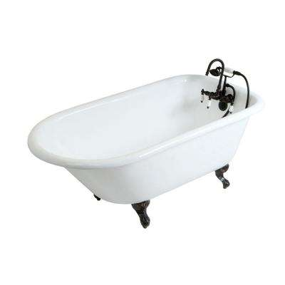 Petite 4.5 ft. Cast Iron Oil Rubbed Bronze Claw Foot Roll Top Tub with 3-3/8 in. Centers in White