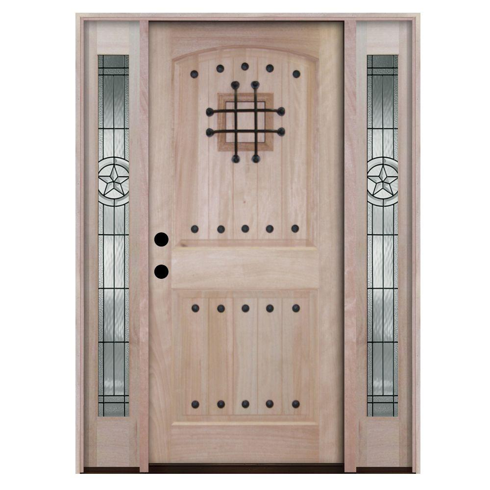 Steves & Sons Rustic 2-Panel Speakeasy Unfinished Mahogany Wood Prehung Front Door with Sidelites-DISCONTINUED