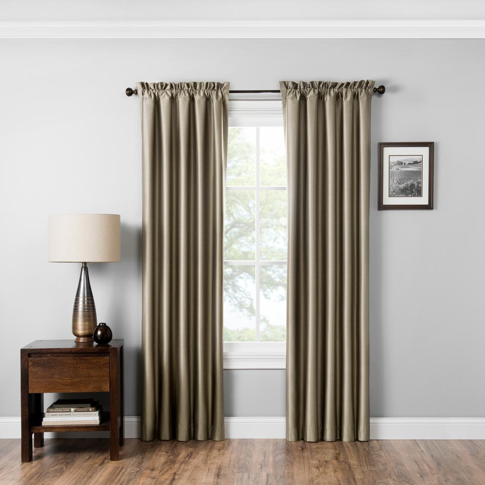 Eclipse Blackout Miles 95 In L Latte Rod Pocket Curtain 15936042x095lat The Home Depot