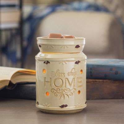 8.8 in. Bless This Home Cream Illumination Fragrance Warmer