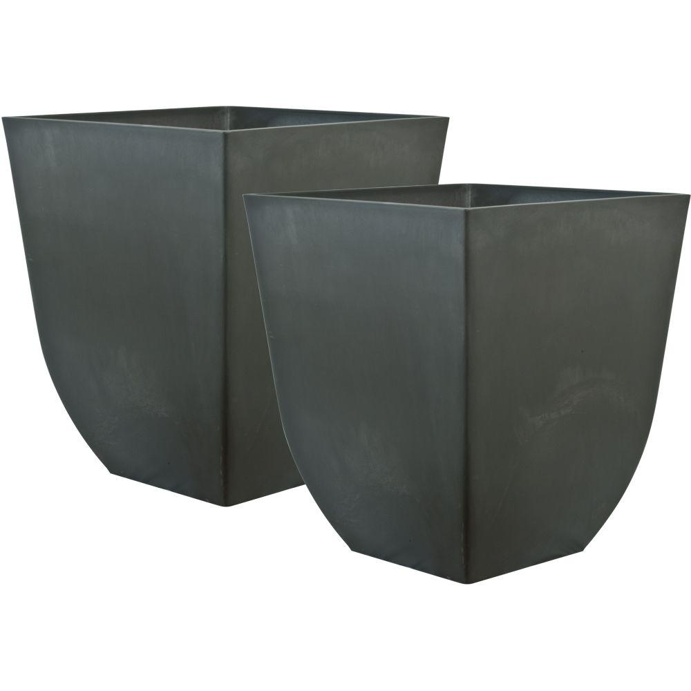Pride Garden Products Cubo 15 in. Square Charcoal Plastic Planter (2-Pack)