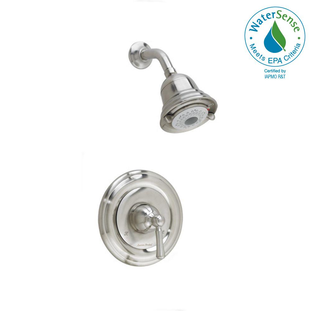 Portsmouth 1-Handle Shower Faucet Trim Kit with Round Escutcheon in Brushed