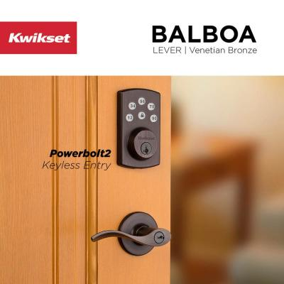 Powerbolt2 Venetian Bronze Single Cylinder Electronic Deadbolt Featuring SmartKey Security and Balboa Passage Lever