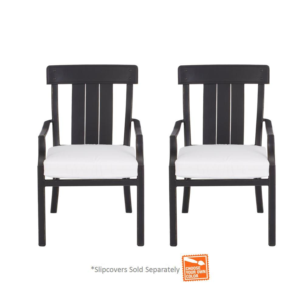 Hampton Bay Oak Heights Stationary Patio Dining Chair With Cushion Insert  (2 Pack)