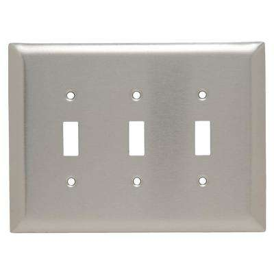 302 Series 3 Gang Jumbo Toggle Wall Plate in Stainless Steel