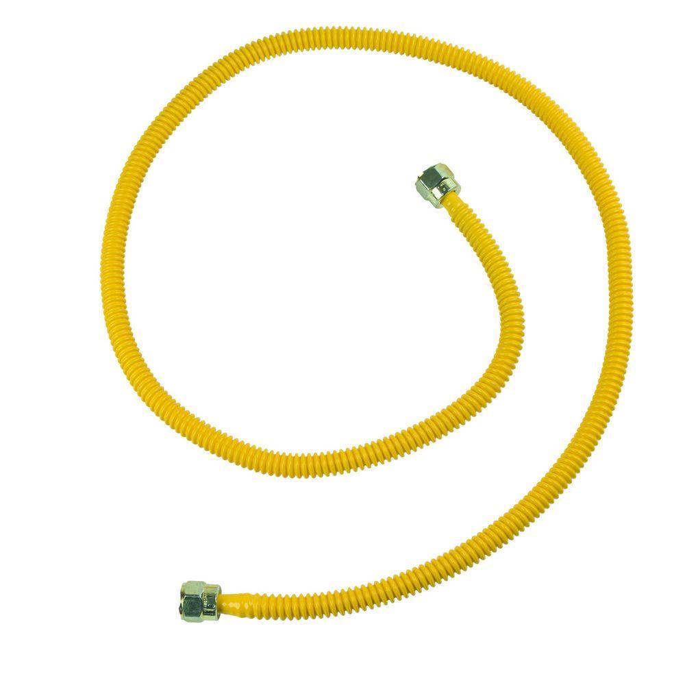 BrassCraft ProCoat Nut x Nut x 46 in. Stainless Steel Gas Connector 3/8 in. O.D. Fine Thread (28,300 BTU)