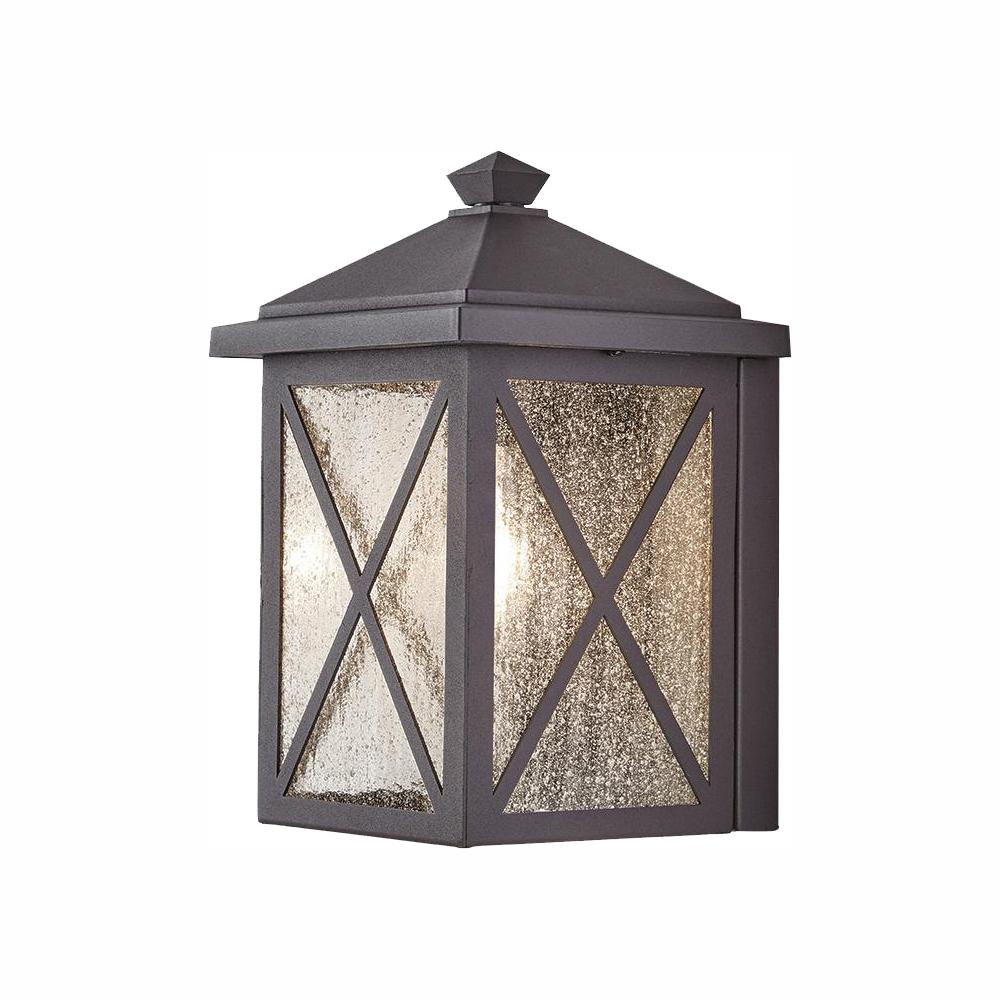 Home Decorators Collection Criss Cross 1-Light Black Outdoor Wall Lantern Sconce with Seeded Glass