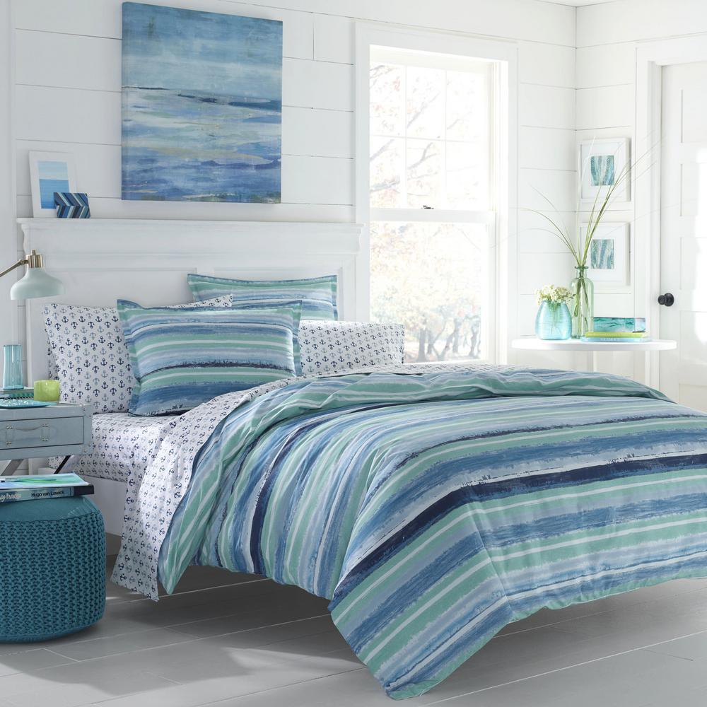 Alex 2-Piece Aqua Twin Cotton Comforter Set