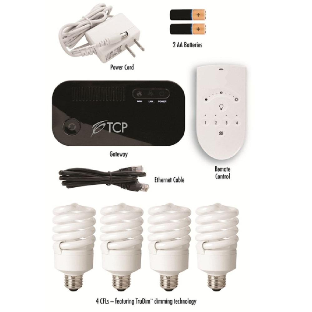 TCP Connected Wireless Smart Lighting Kit with (4) CFL Light Bulb and Remote