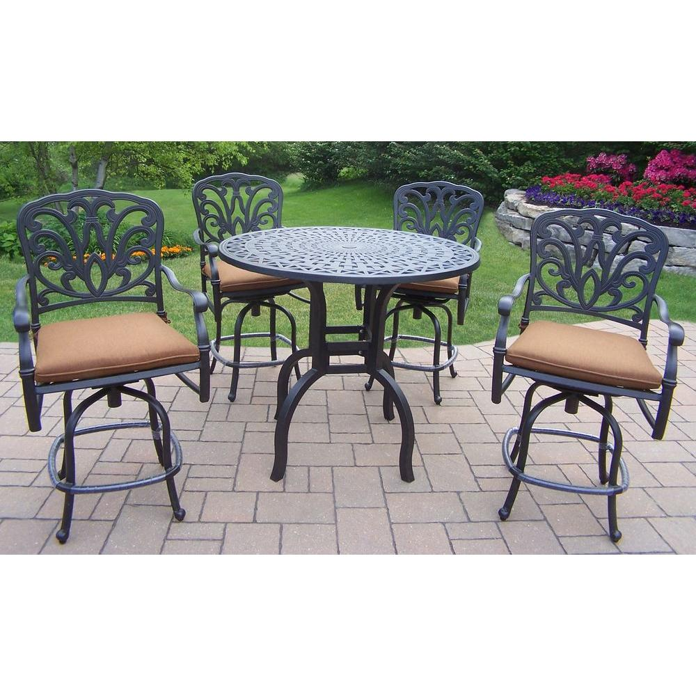 5-Piece Aluminum Round Patio Bar Height Dining Set with Dark Brown