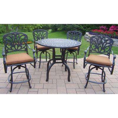 5-Piece Aluminum Round Patio Bar Height Dining Set with Dark Brown Sunbrella Cushions