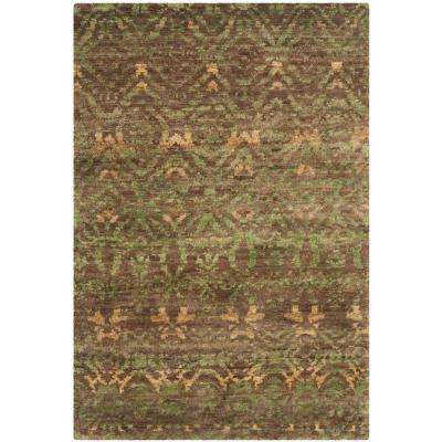 Bohemian Green Brown 4 Ft X 6 Area Rug