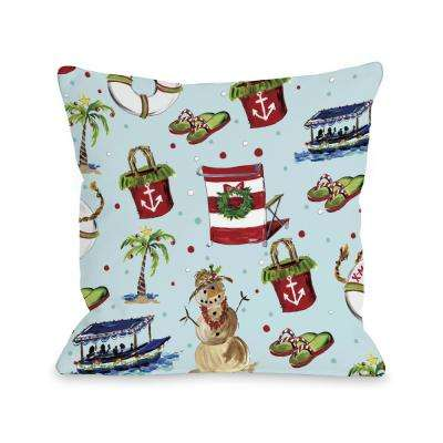 Beach Christmas Pattern 16 in. x 16 in. Decorative Pillow