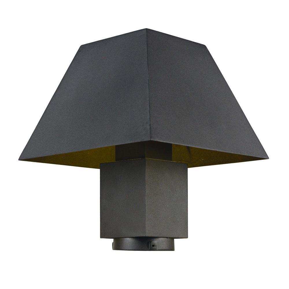 Pavilion 10 in. Wide 1-Light Outdoor Black Integrated LED Post Light