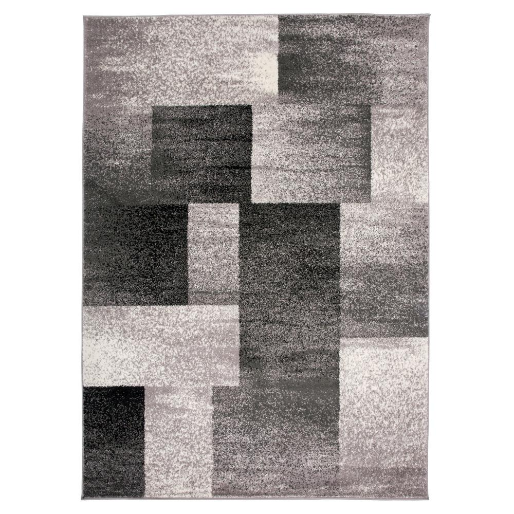 World Rug Gallery Contemporary Distressed Boxes Gray 7 ft. 10 in. x 10 ft. Indoor Area Rug