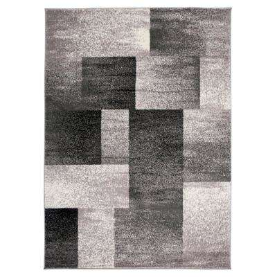Contemporary Distressed Boxes Gray 7 ft. 10 in. x 10 ft. Indoor Area Rug