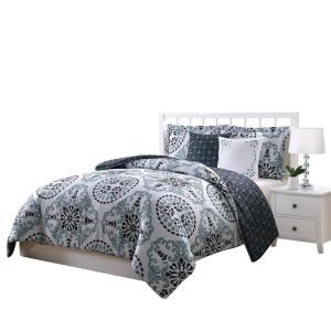 Click here to buy  Bailey Blue,Gray and Black 5-Piece Reversible Full and Queen Comforter Set.