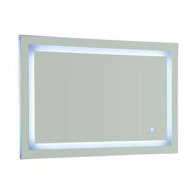 39.5 in x 28.5 in. White/Blue LED Lighted Mirror With Touch Sensor
