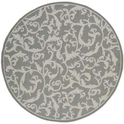 Courtyard Anthracite/Light Gray 7 ft. x 7 ft. Indoor/Outdoor Round Area Rug