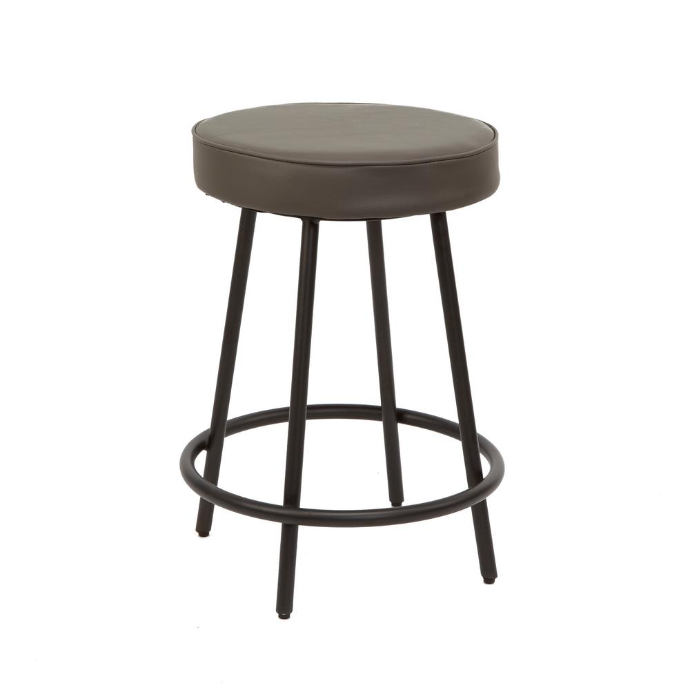 Charcoal Metal Upholstered Round Backless Barstool