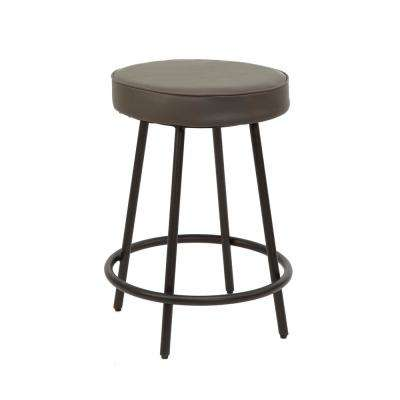 Carly 24 in. Charcoal Metal Upholstered Round Backless Barstool
