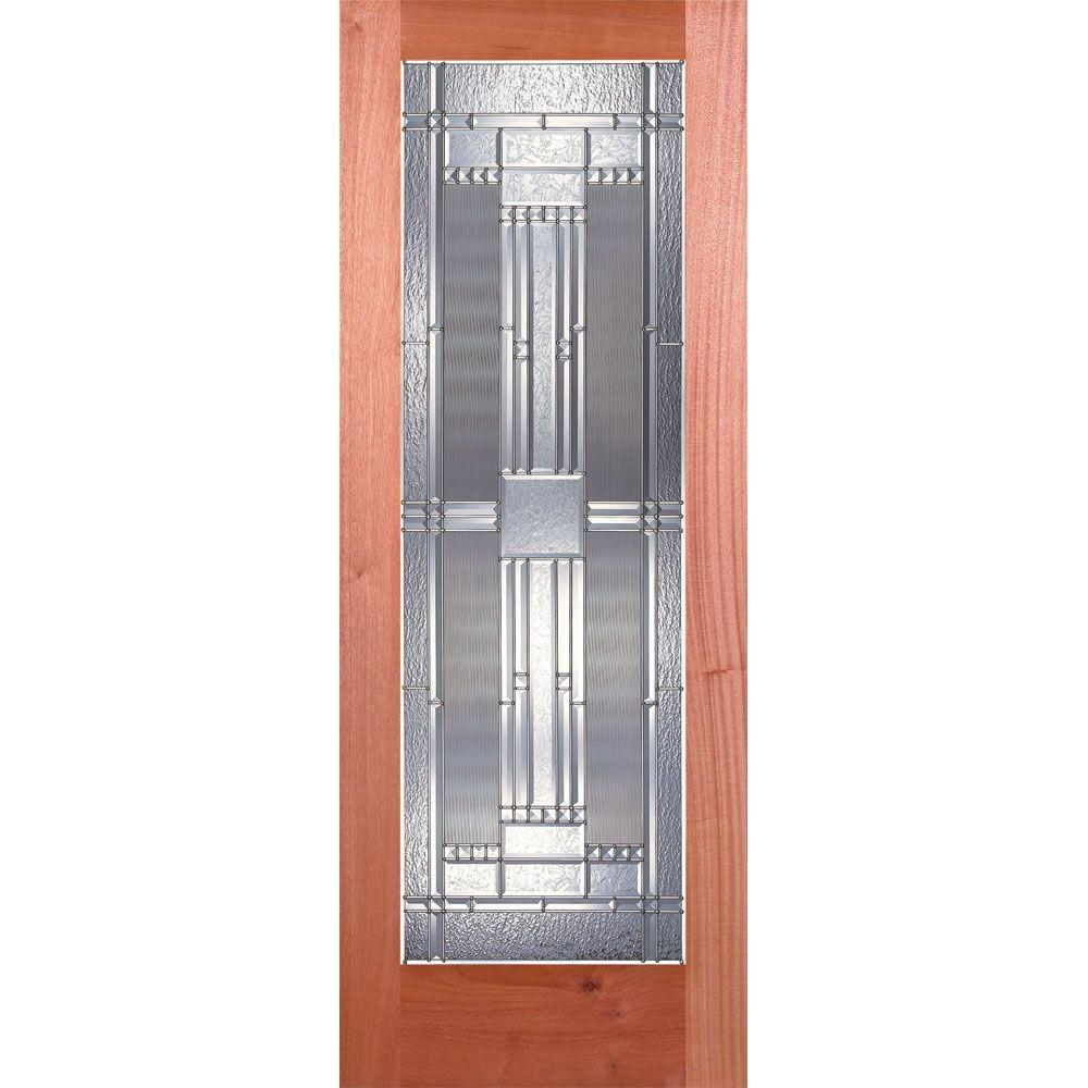 24 in. x 80 in. 1 Lite Unfinished Mahogany Preston Zinc