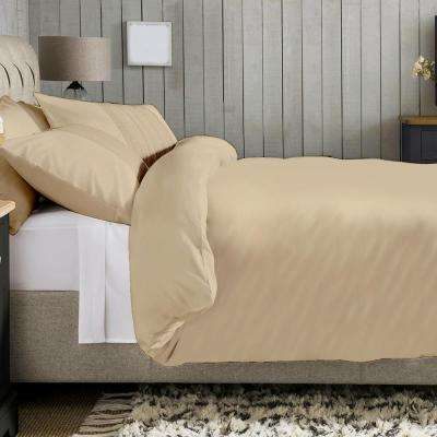 108 in. x 92 in. 100% Organic Cotton Solid Sand Wrinkle Resistant King Duvet Set