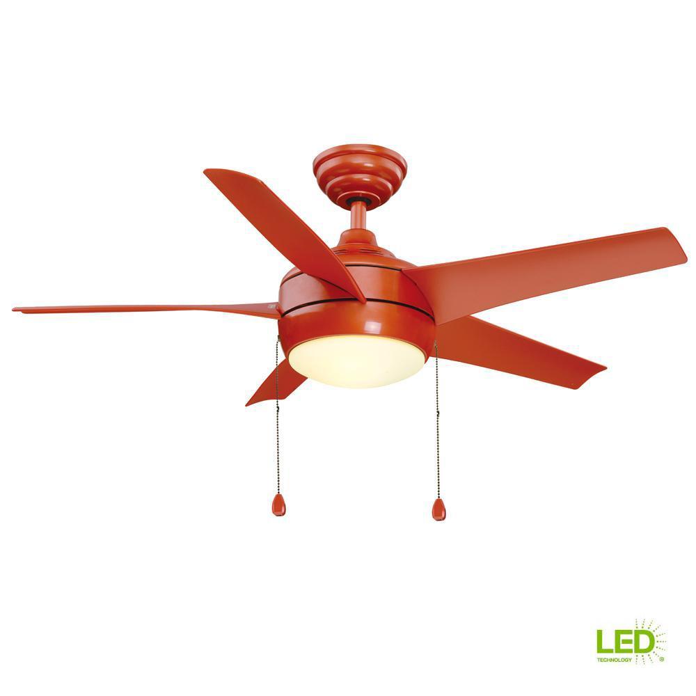 Windward 44 in. LED Orange Ceiling Fan with Light Kit