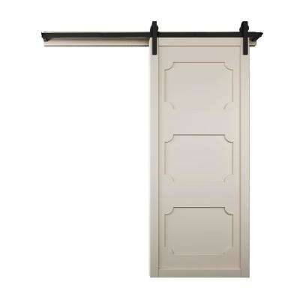 36 in. x 84 in. The Harlow III Off White Wood Barn Door with Sliding Door Hardware Kit