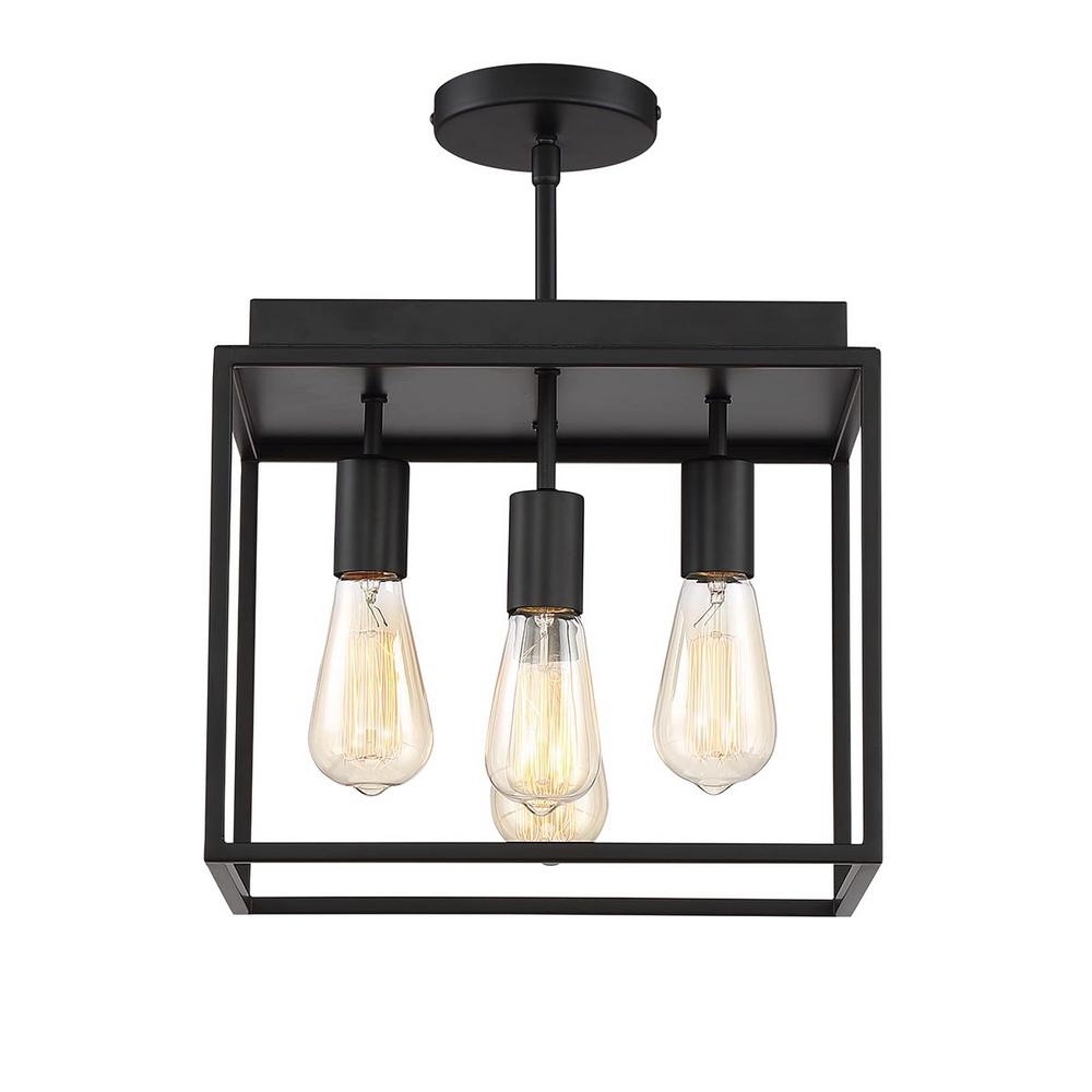 Home Decorators Collection Rollins 13 in. 4-Light Black Semi Flush Mount Light