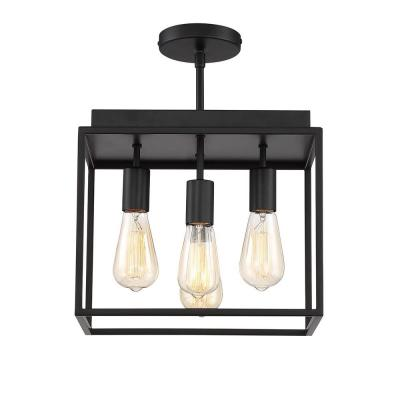 Rollins 13 in. 4-Light Black Semi Flush Mount Light