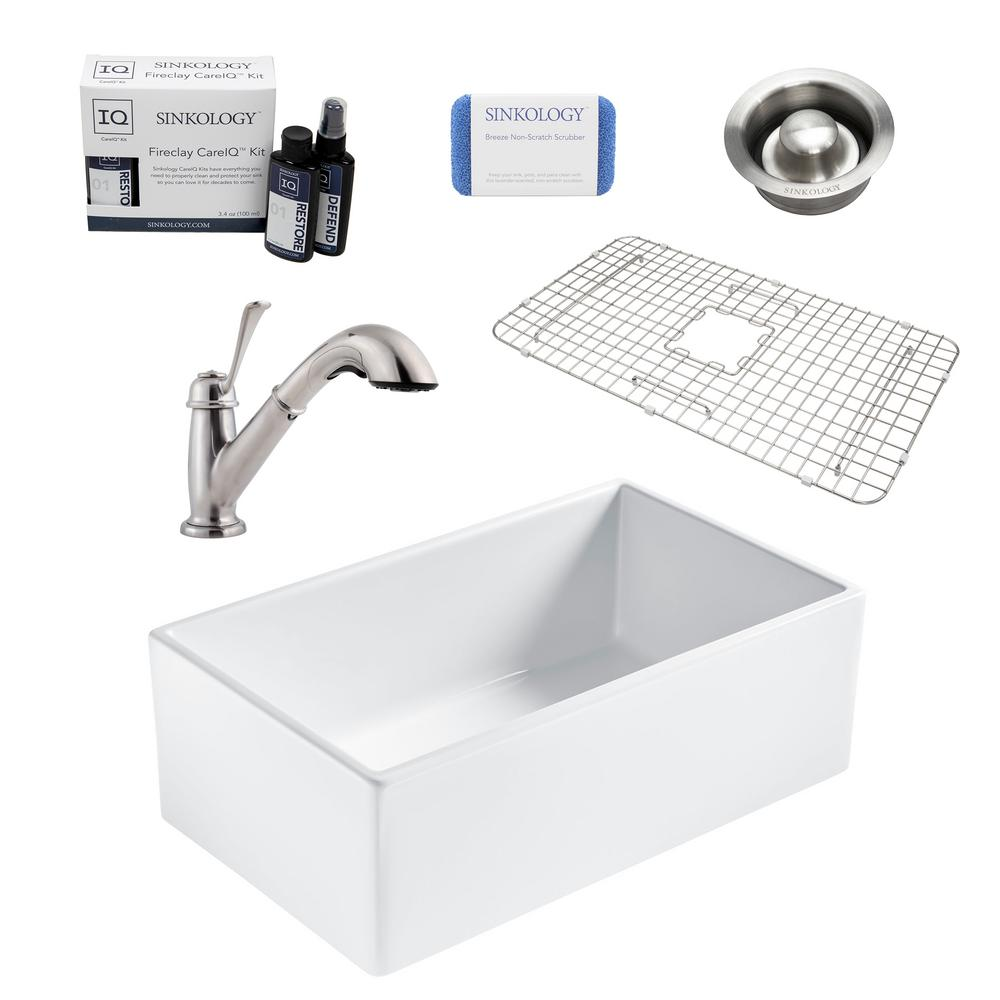 SINKOLOGY Bradstreet II All-in-One Farmhouse Fireclay 30 in. Single Bowl Kitchen Sink with Pfister Pull-Out Faucet and Drain