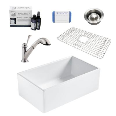 Bradstreet II All-in-One Farmhouse Fireclay 30 in. Single Bowl Kitchen Sink with Pfister Pull-Out Faucet and Drain
