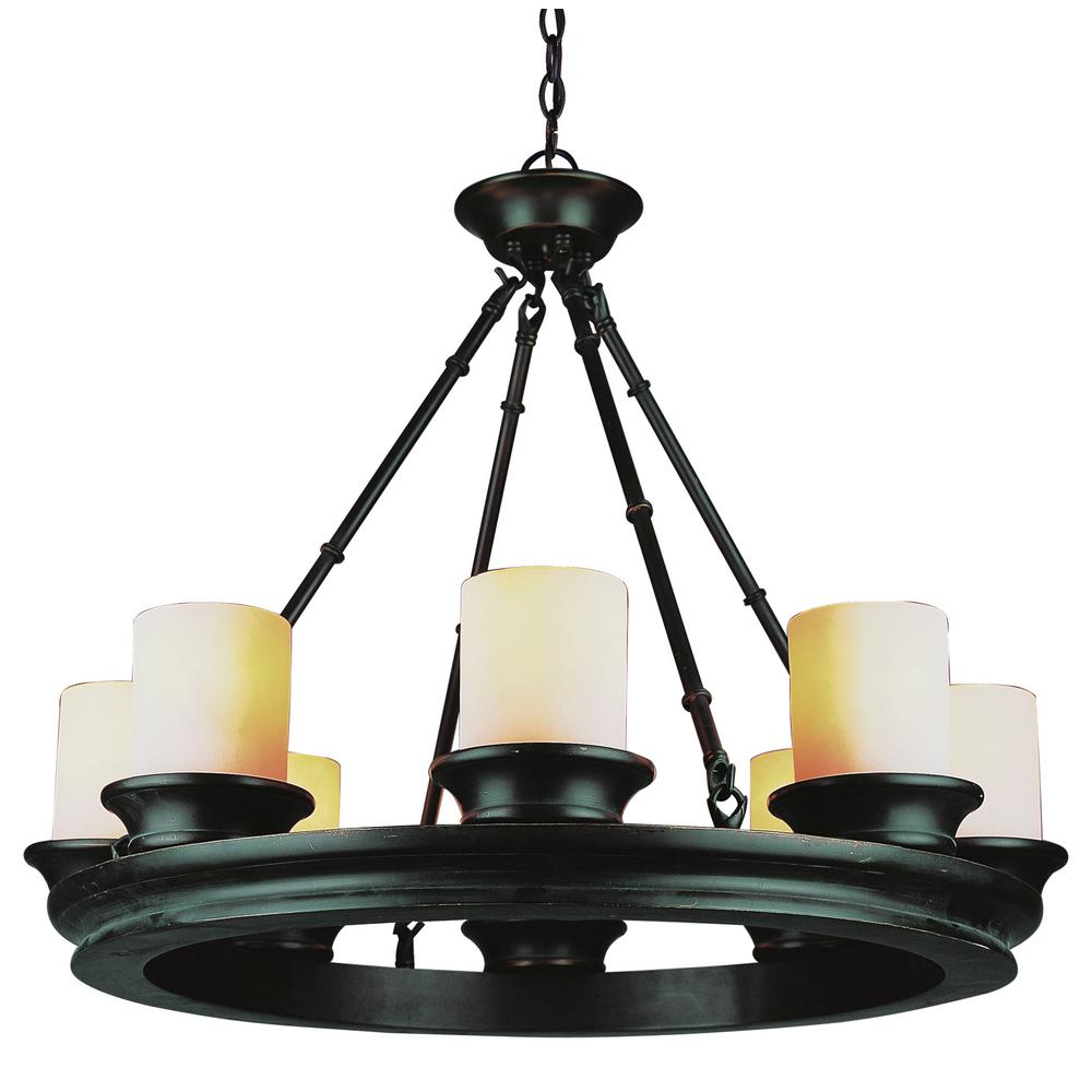 Bel Air Lighting Rook 8 Light Rubbed Oil Bronze Chandelier With Opal Shade