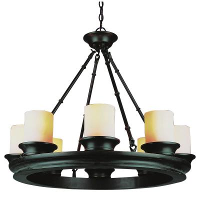 Bel Air Lighting Rook 8-Light Rubbed Oil Bronze Chandelier with Opal Shade