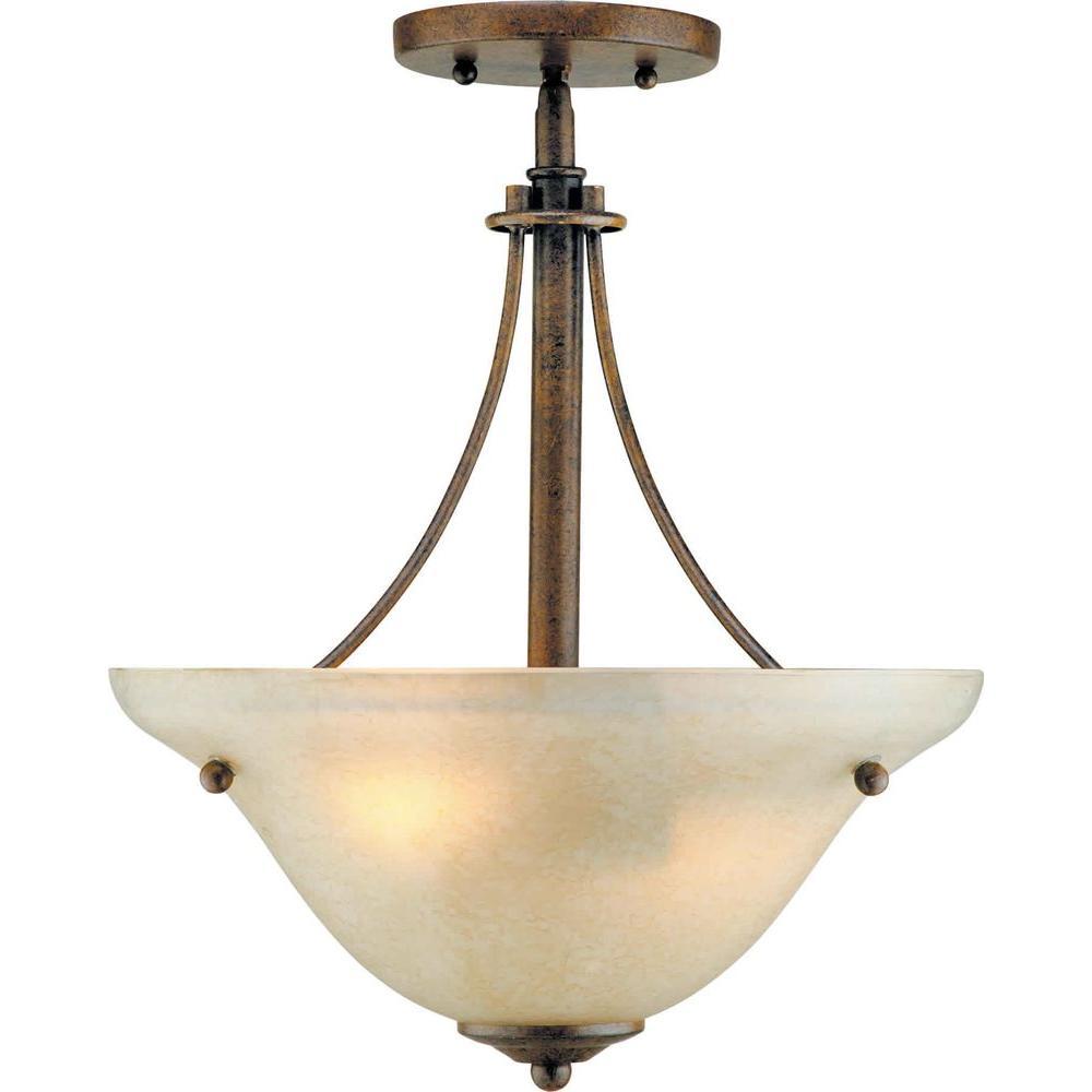 Talista 2-Light Chestnut Semi Flush Mount with Gold Dust Glass