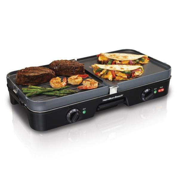 3 in 1 180 sq. in. Black Indoor Grill with Removable Grids