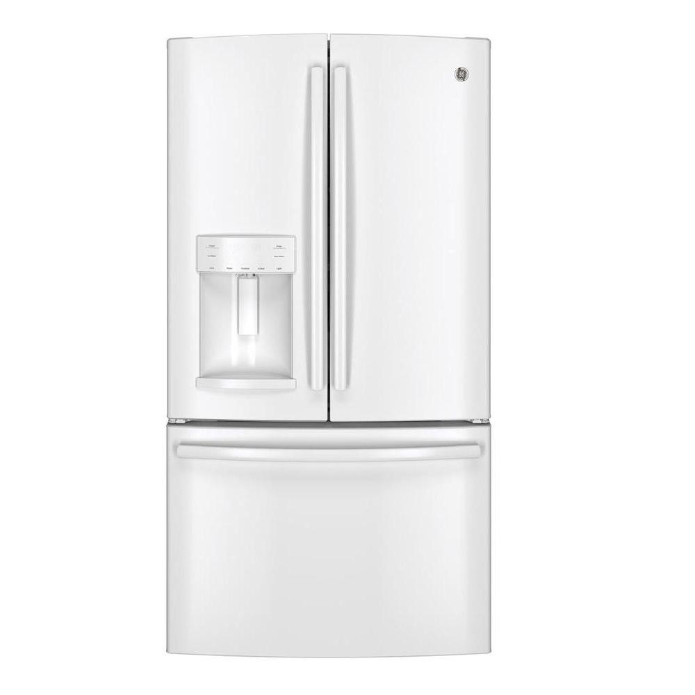 ge 36 in w 25 8 cu ft french door refrigerator in white