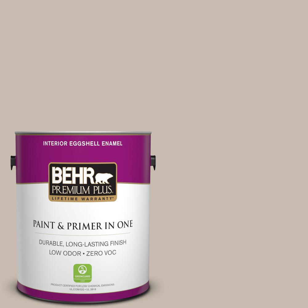 BEHR Premium Plus 1 gal. #ECC-44-1 Barley Field Eggshell Enamel Zero VOC Interior Paint and Primer in One