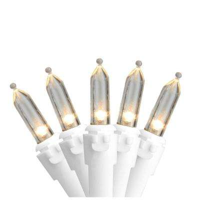 Set of 50 Warm White LED Mini Christmas Lights with White Wire
