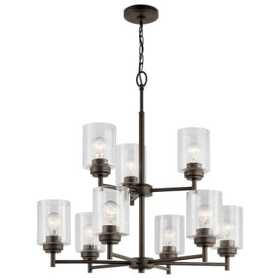 Winslow 9-Light Olde Bronze 2 Tier Chandelier with Clear Seeded Glass Shade