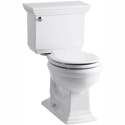 Memoirs Stately Comfort Height 2-piece 1.28 GPF Single Flush Round Toilet in White, Cachet Q3 Toilet Seat Included