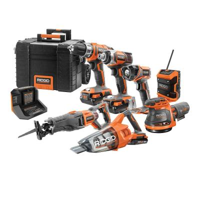 18V Cordless Combo Kit (7-Tool) with Rolling Keter Case, (3) 2.0 Ah Batteries and Charger