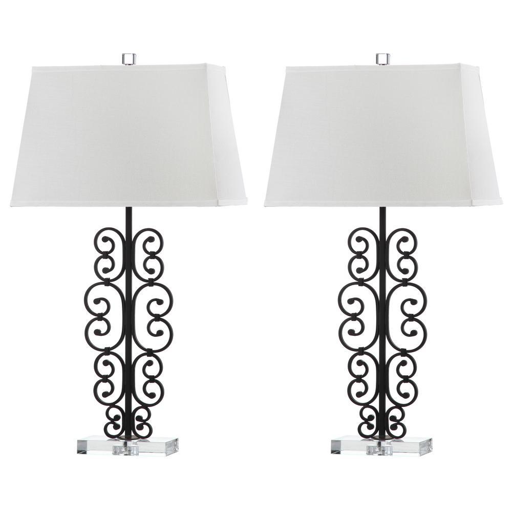 Bennett 32 in. Black/Clear Scroll Table Lamp (Set of 2)