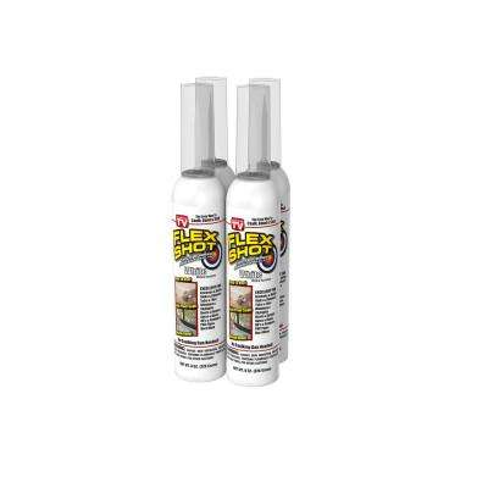 Flex Shot 8 fl. oz. White Thick Rubber Mildew Resistant Waterproof Adhesive Sealant (4-Piece)
