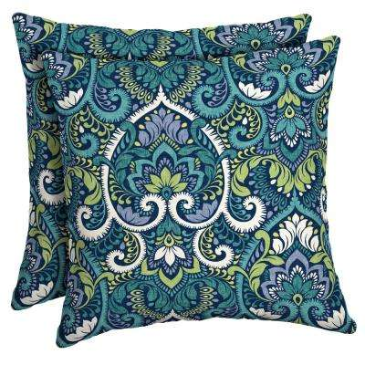 Sapphire Aurora Damask Square Outdoor Throw Pillow (2-Pack)