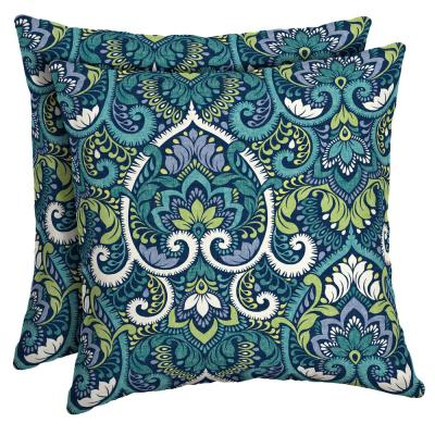 16 x 16 Sapphire Aurora Damask Square Outdoor Throw Pillow (2-Pack)