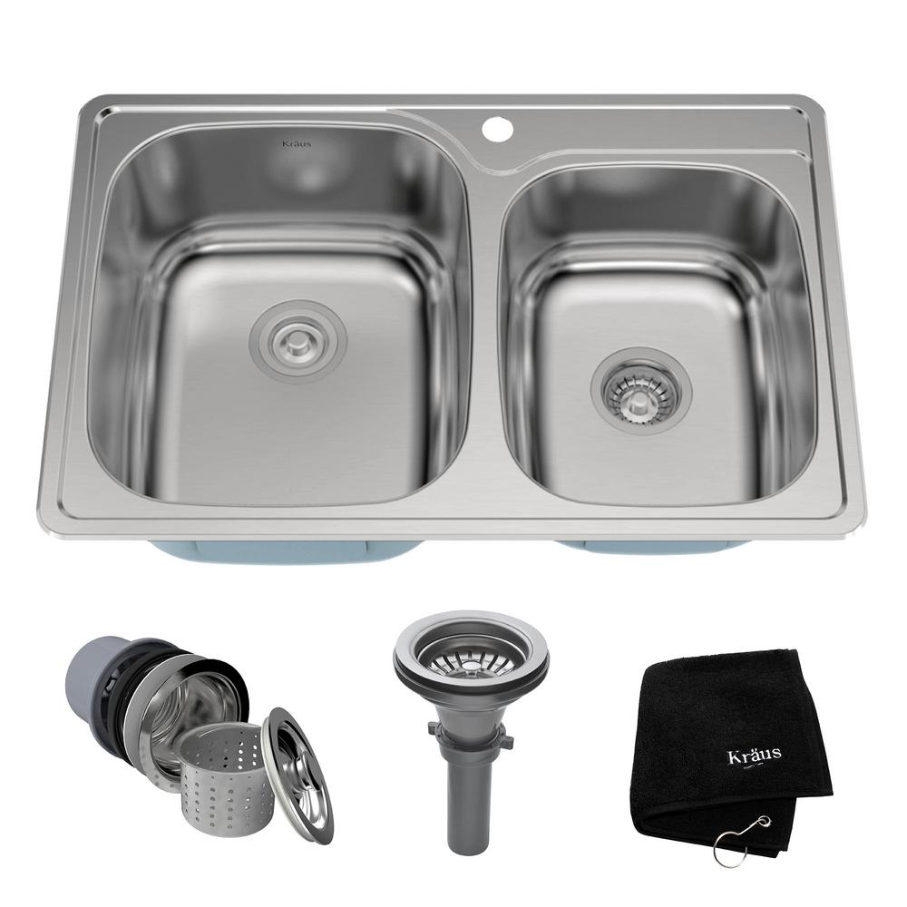 1 hole 60 40 double bowl kitchen sink kit ktm32   the home depot kraus drop in stainless steel 33 in  1 hole 60 40 double bowl      rh   homedepot com